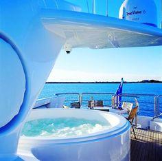 Hot tub on a yacht?  Nice!