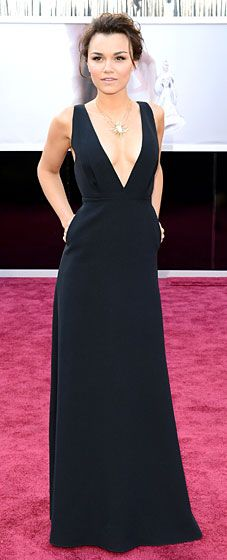 Samantha Barks in Valentino - Academy Awards 2013 -- I think the neckline of this dress takes it to the next level.