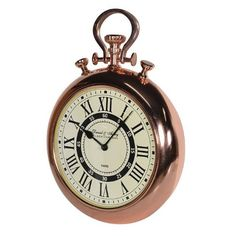 Shiny Copper Stop Watch Round Wall Clock
