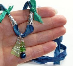 Summer Sea Glass Necklace on Blue Silk Sari by BlissfulVine
