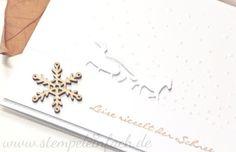 stempel einfach: Ganz in Weiß, Stampin Up Schlittenfahrt, Stempeleset Stampin up, Weihnachtskarte, Leise rieselt,