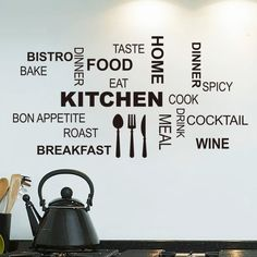 Cheap sticker wall decor, Buy Quality decorative window stickers directly from China stickers shell Suppliers: Kitchen Wall Quotes Art food wall stickers diy vinyl adesivo de paredes home decals art posters Sofa Wall Home Decoration Kitchen Letters, Kitchen Words, Kitchen Art, Home Decor Kitchen, Kitchen Cook, Country Kitchen, Kitchen Living, Happy Kitchen, Kitchen Appliances