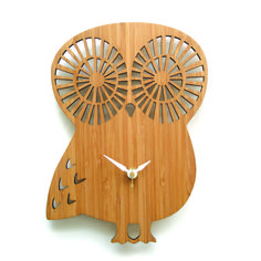 laser cut bamboo Owl wall clock - love this!