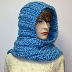 Soft Blue Long Fall Scarves, Winter Knit Scarf, Fashion Scarves, Fall Womans Scarf, Womans Hooded Scarf, Gift for Her, Elizabeth B4-055 by CeciliaAnnDesigns on Etsy