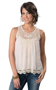 Panhandle Slim Women's Cream Chiffon with Floral Crochett Sleeveless Tunic