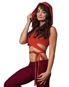 This wrap top has a hood and is double layered in front for better coverage. Extra long ties so it can wrap around once with a big bow or wrap multiple times. Made from a soft and comfortable cotton s