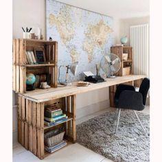 Créez des rangements de bureau avec des caisses en bois