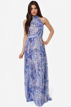 Design of the Times Blue Print Maxi Dress at LuLus.com!