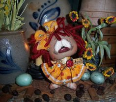 "Primitive Raggedy Ann 5"" Annie Doll Ladybug Vtg Patti's Ratties Bear Artist OOAK"