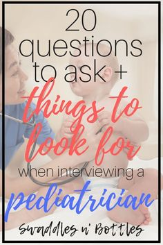 Interviewing a pediatrician- 20 questions to ask and things to look for. Selecting the right doctor for your baby is one of the biggest decisions you will make! Take the stress out of it with this guide to selecting the best! Great read for pregnant moms preparing for their big arrival!