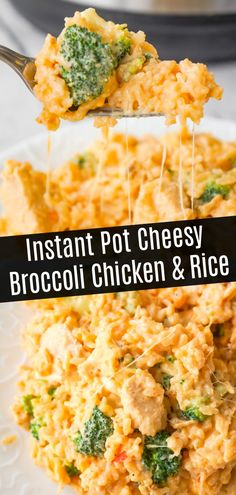Instant Pot Cheesy Broccoli Chicken and Rice is an easy pressure cooker dinner recipe made with long grain rice and loaded with chunks of chicken breast, broccoli florets, salsa con queso, mozzarella, cheddar and Parmesan. for dinner for two easy Rice Instant Pot Recipe, Instant Recipes, Instant Pot Dinner Recipes, Chicken Breast Instant Pot Recipes, Broccoli Recipes, Broccoli Chicken, Chicken Recipes, Cheesy Chicken, Recipes With Rice And Broccoli