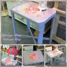 table painted with Autentico lavender