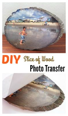 Ideas wood slice crafts photo transfer for 2019 Transfer Picture To Canvas, Photo Transfer Onto Wood, Transfer Images To Wood, Foto Transfer, Wood Slice Crafts, Wood Crafts, Rustic Crafts, Photo Craft, Diy Photo