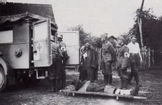 Wounded Polish POW being removed by German medics in L. Kaweczyn on 17 Sept 1939.