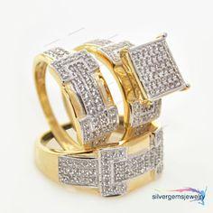 His Hers Men Womens Diamonds Rings Set Wedding Bridal Band 18k Yellow Gold Trio #Silvergemsjewelry