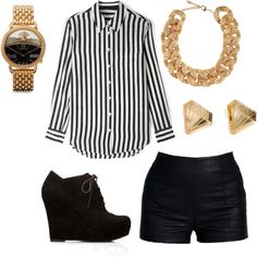 A fashion look from December 2013 featuring Equipment tops, Lush Clothing shorts and Forever 21 ankle booties. Browse and shop related looks.