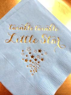 Items similar to 25 Personalized Napkins Baby Shower Twinkle Twinkle Little Star Monogram Cocktail Beverage Light Blue Navy or White Metallic Gold Foil Print on Etsy Baby Shower Quotes, Baby Quotes, Fun Quotes, Girl Quotes, Baby Shower Themes Neutral, Personalized Napkins, Girl Baby Shower Decorations, Star Baby Showers, Baby First Birthday
