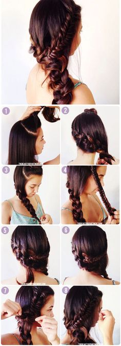 This is an eight step tutorial on how to make this beautiful braid!!!