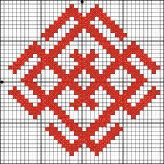 Славянский религиозный символ бога Белобога - воплощения света, бога добра, удачи, счастья, олицетворяющего собой дневное и весеннее небо. Имеющий этот знак всегда будет и с урожаем и с деньгами. Белобог - Знак добра и благополучия, хранит от ссор и творит лад в семье. Tapestry Crochet Patterns, Knitting Paterns, Embroidery Patterns Free, Knitting Charts, Weaving Patterns, Cross Stitch Patterns, Embroidery Designs, Russian Embroidery, Medieval Embroidery
