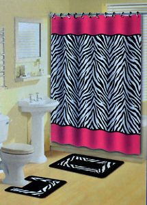Lush Red Zebra Print Bathroom Set Comes Complete With