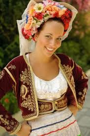 Girl in traditional costume at the entrance to Achillion palace in Gastouri, Corfu. Costumes Around The World, Beauty Around The World, Folklore, Mode Boho, Ethnic Dress, Folk Costume, People Of The World, Ethnic Fashion, World Cultures