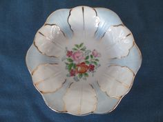Fancy Occupy Japan Blue & White Dish With Floral Center Vintage Collectible Home Decor by BitofHope on Etsy