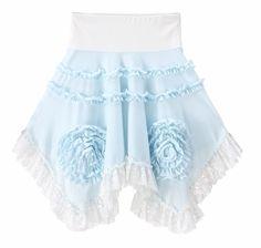 Girls Lace Handkerchief Ruffle Flower Skirt Twirl Boutique Blue White Summer 2T-6