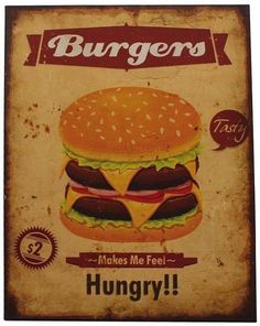 Decoratiune de perete Burgers Metal 40x30 cm Feeling Hungry, Burgers, Best Sellers, Wall Decor, Tasty, Metal, Ethnic Recipes, Mini Kitchen, Hamburgers