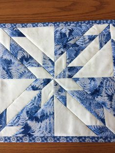 Christmas Winter Blue & Silver Quilted Table by Jelly Roll Quilt Patterns, Barn Quilt Patterns, Pattern Blocks, Star Quilts, Quilt Blocks, Hunters Star Quilt, Christmas Placemats, Place Mats Quilted, Baby Girl Quilts