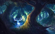 Hämta bilder 4k, rådjur, natt, magiska skogen, konst