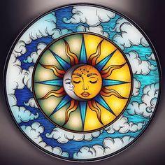 Sun And Moon Drawings, Greek Paintings, Sun Painting, Glass Painting Designs, Magic Design, Painted Clay Pots, Stoner Art, New Media Art, Sun Moon Stars