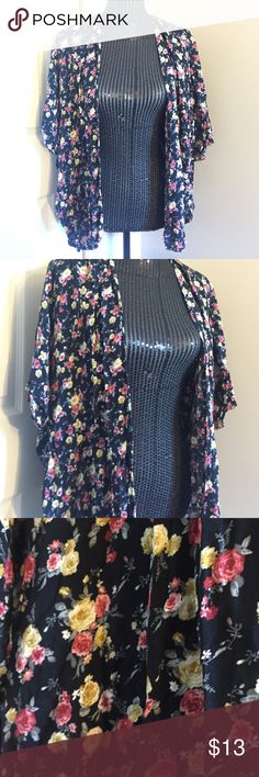 Floral Light Cardigan! F21 Floral, black, pink, yellow, short sleeve, fits sizes xl and 1x. Forever 21 Tops