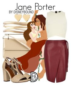 """Jane Porter"" by leslieakay ❤ liked on Polyvore featuring M2Malletier, Lane Bryant, Disney, River Island, Charlotte Olympia, Lipsy, disney, disneybound and disneycharacter"