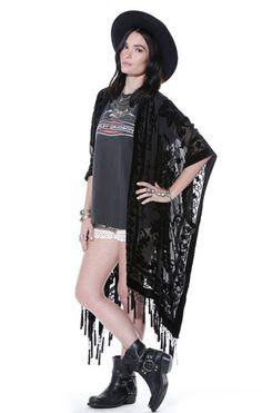 Black Moonlight Floral Brocade Tassel Kimono - Saltwater Gypsy #saltwatergypsy #kimonos