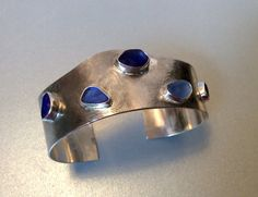 Seaglass cuff Sterling silver an blue by Caribbeanmemories