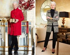 """From Paris Fashion Week, to dinners with Diane von Furstenberg, Maye Musk is currently one of fashion's hottest """"it girls"""". Not bad for 68! She's also a registered dietician, a mom, and a grandma. We wanted to learn more about how she enjoys the season without overdoing it. Holiday Fashion, Autumn Fashion, Holiday Style, Maye Musk, First Day Of Work, Diane Von Furstenberg, Color Combinations, Looks Great, Dressing"""