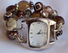 Brown Chunky Beaded Interchangeable Watch Band by BeadsnTime, $15.00