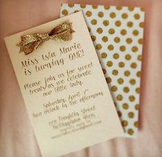 Elegant first birthday invitations for a girl