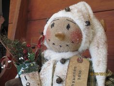 Primitive Christmas  Folk Art Snowman Doll by WillowCreekPrims, $39.99
