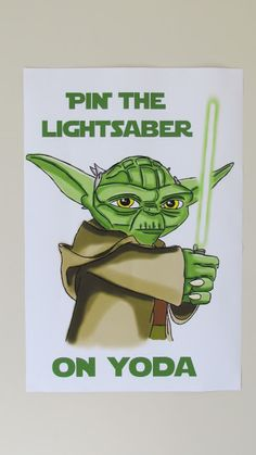 Star Wars Game - Pin the Light Saber on Yoda