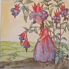 vintage illustration ida bohatta mini card print flower girl fuschia waldorf flower fairy children's book illustration rare antique small