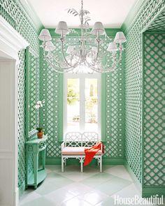Colorful Bahamas House - Amanda Lindroth Interior Design - House Beautiful Trelliswork in Benjamin Moore Spring Break. White floors.