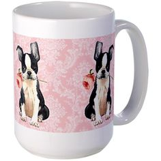 CafePress - Boston Terrier Rose Large Mug - Coffee Mug, Large 15 oz. White Coffee Cup >> More infor at the link of image  : Coffee Mugs