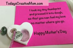 Make a thumbprint memory necklace from air-dry clay. I made 65 of these for Mother's Day of my preschool. It was a hit!