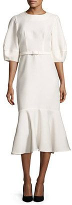Shop Now - >  https://api.shopstyle.com/action/apiVisitRetailer?id=601302435&pid=2254&pid=uid6996-25233114-59 Co Belted Half-Sleeve Flounce-Hem Dress, Ivory  ...