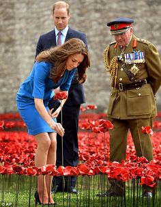 The Duchess of Cambridge places a ceramic poppy, watched by her husband Prince William, an...