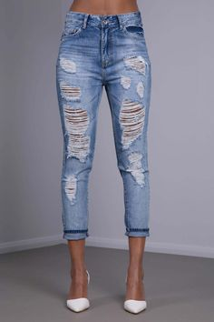 b67c9343e6594 Oh Boy High Waist Blue Ripped Boyfriend Jeans