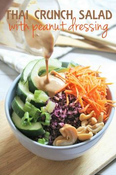 This Thai-inspired salad is packed with crunchy vegetables and drizzled with a creamy peanut dressing. It's refreshing, nutritious, and delicious! Peanut based salad dressings and dipping sa… Vegetarian Cabbage, Vegetarian Recipes, Healthy Recipes, Healthy Meals, Veg Recipes, Simple Recipes, Diabetic Recipes, Summer Recipes, Ensalada Thai