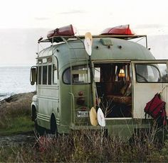 """""""Plenty of us have dreamed of hitting the road in a sleek Airstream. Fewer have seen the potential in a 1959 Chevrolet Viking short bus. One creative owner did, and enlisted architect Will Winkelman, designer Vincent Moulton, and master woodworker Tony Jose to convert this Viking into a beautiful, travel-ready camper."""""""