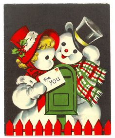 Vintage Mr & Mrs Snowman Christmas Card